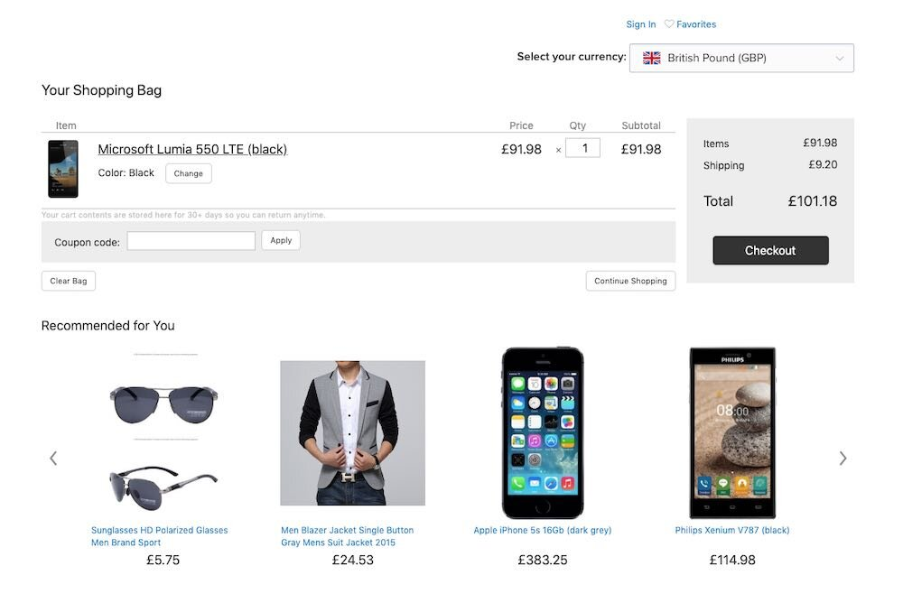 The 'Currency Converter' app in use on an Ecwid store