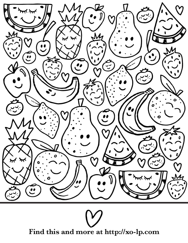 Smiling Fruit Coloring Page — XO-LP