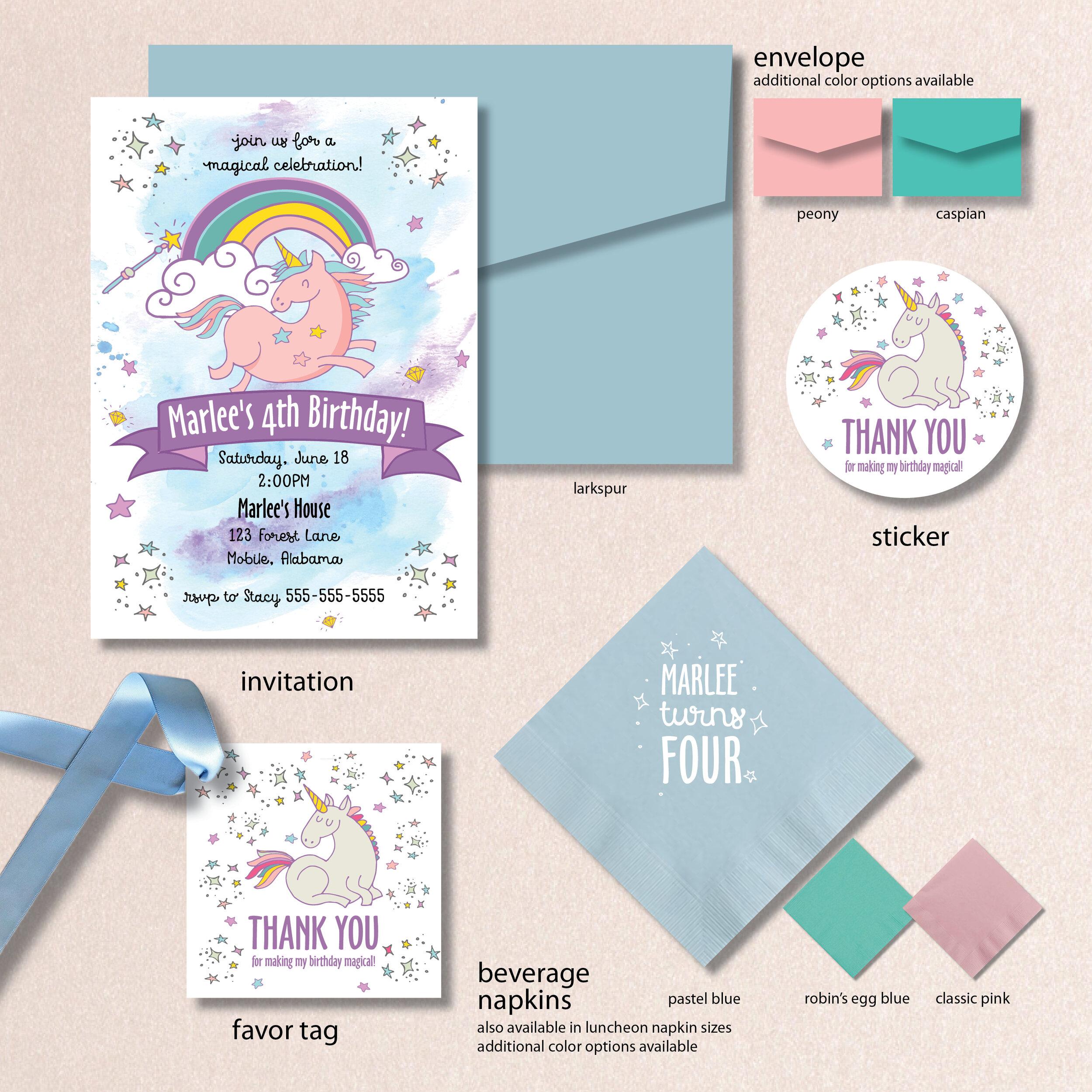 blue unicorn birthday invitation aj bday 11 soiree signatures