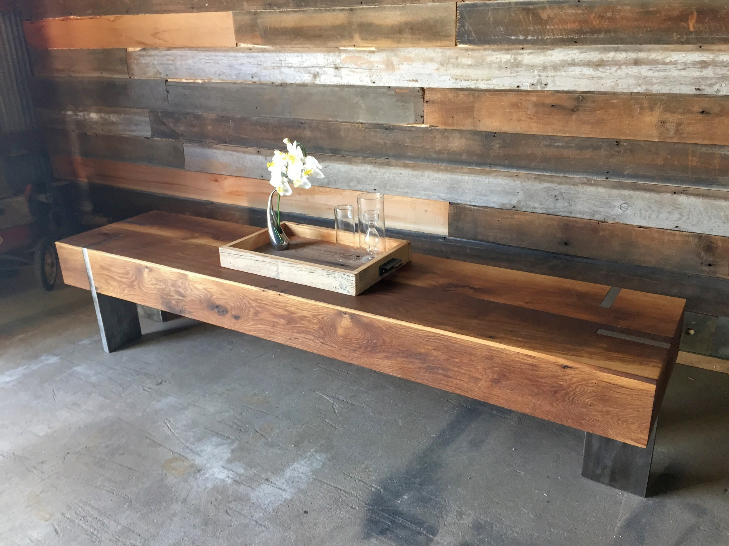 long rectangle modern reclaimed wood coffee table solid steel legs what we make