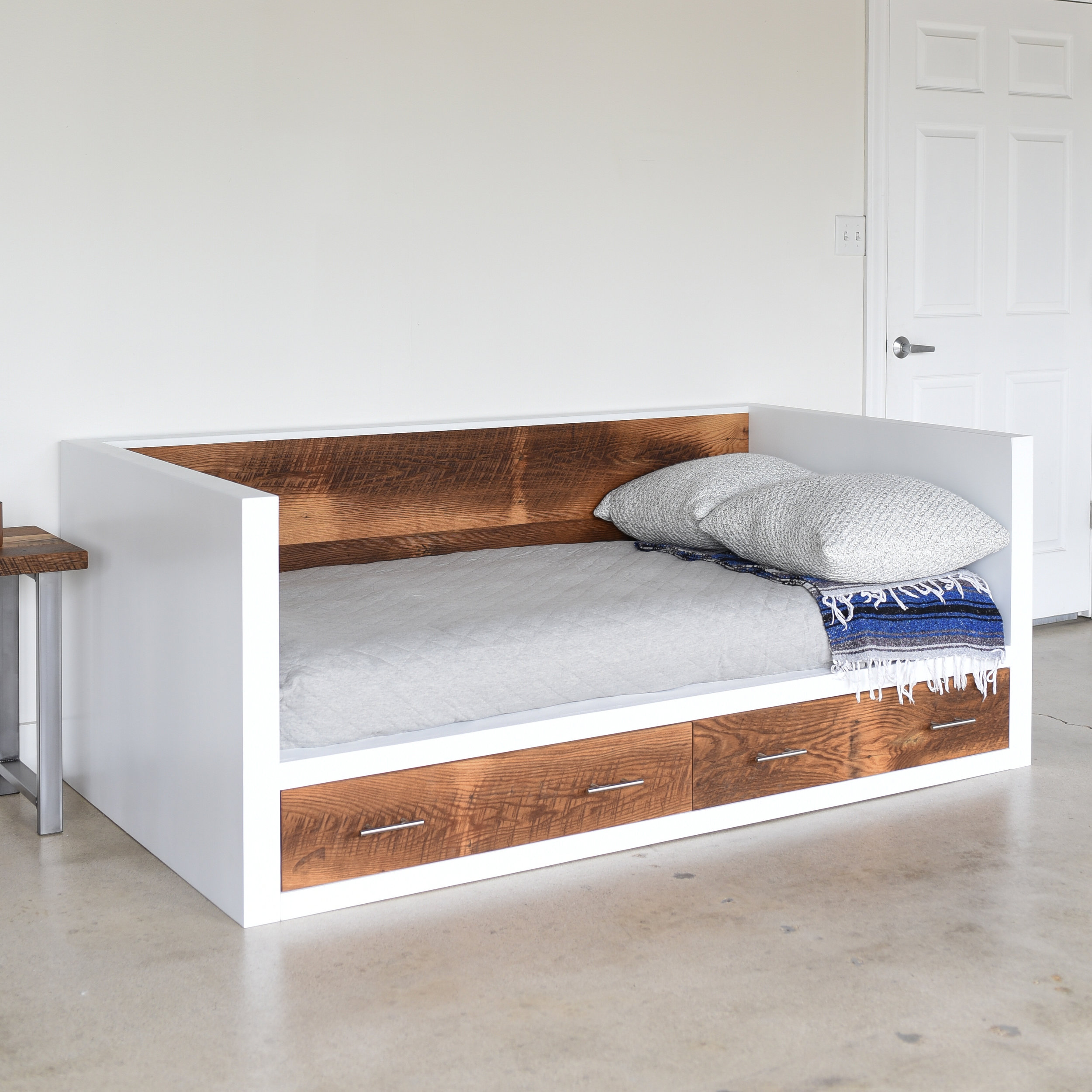 white reclaimed wood daybed what we