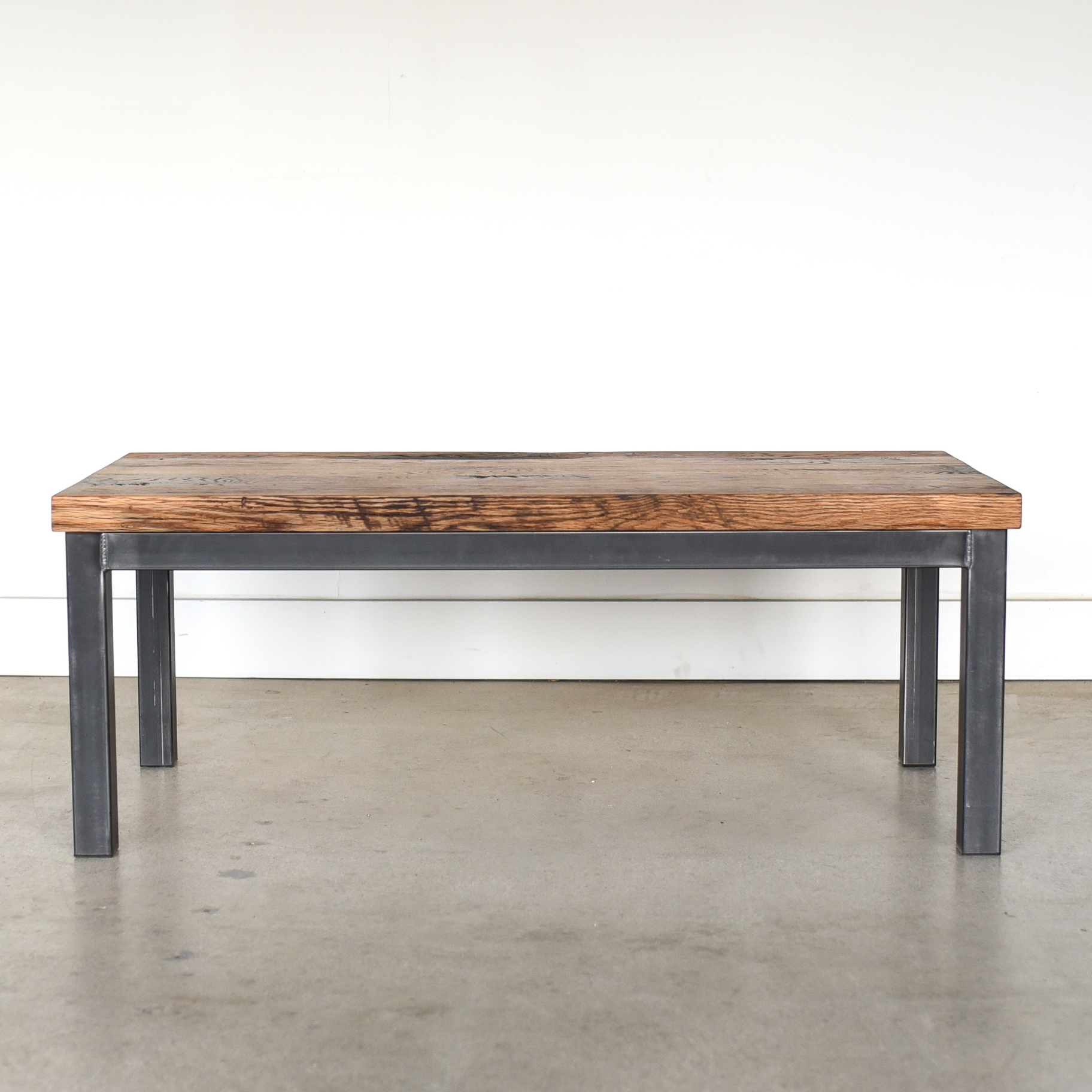 industrial steel frame coffee table 2 reclaimed top what we make