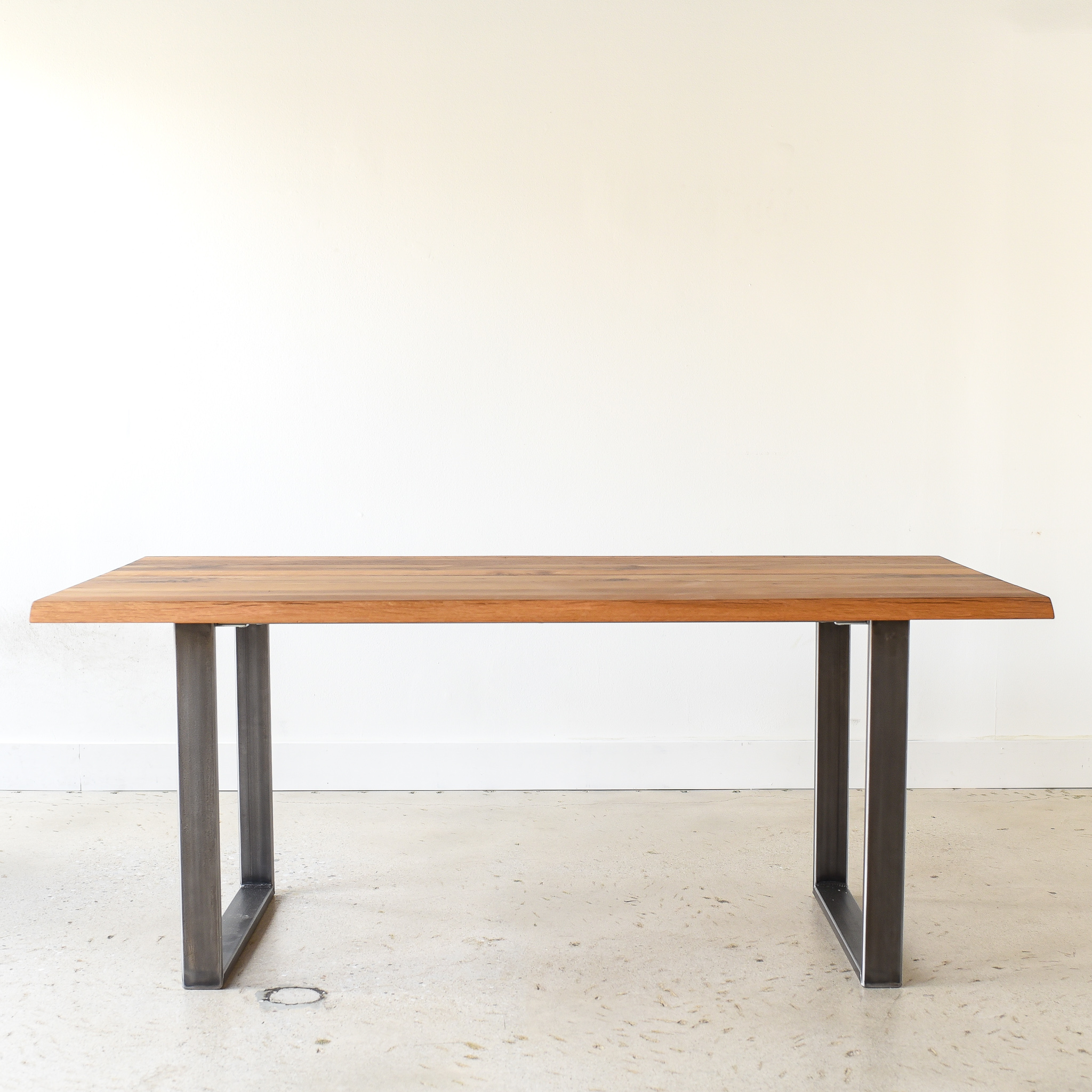 live edge modern dining table u shaped metal legs what we make
