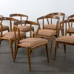 Bertha Schaefer Set Of Eight Vintage Mid Century Walnut