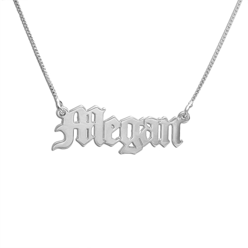 The Gothic Nameplate Necklace The M Jewelers