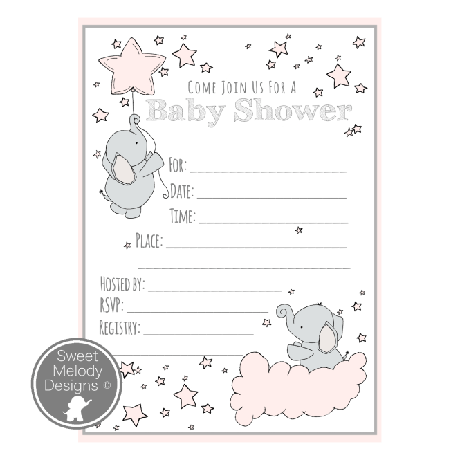 Printable Baby Shower Invitations Elephants And Stars Pink Gray Sweet Melody Designs