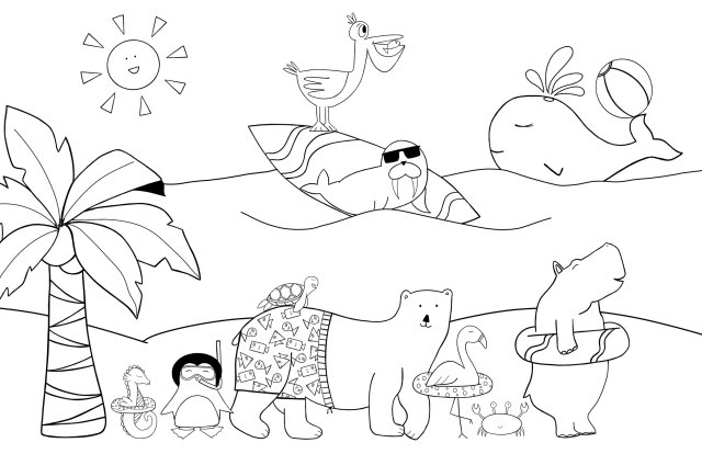 Beach Party Coloring Page — KAYLA KITTS CO  NM Wedding Photographer +  Doodle Artist
