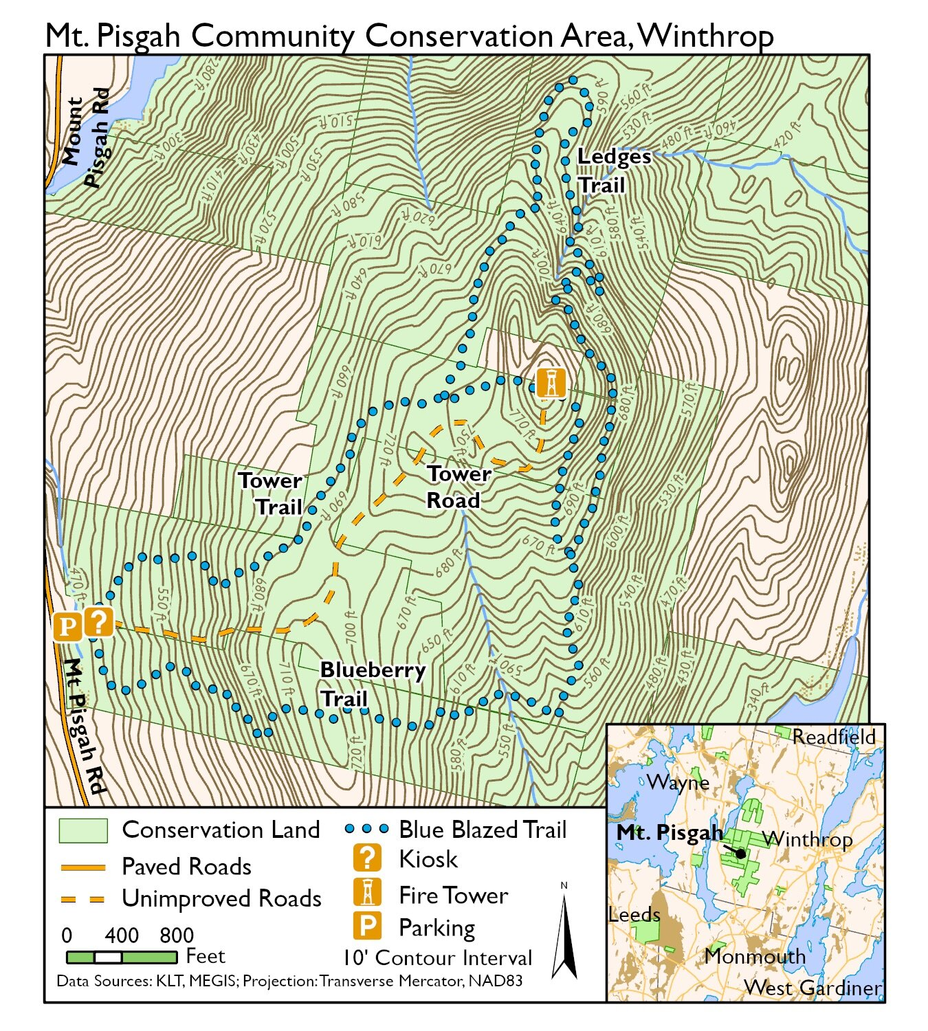From the intersection of highways 131 and 33 in ontario, go east and south on 33 about 2.5 miles, then southwest on park road 0.6 mile to the picnic area. Mt Pisgah Conservation Area Kennebec Land Trust