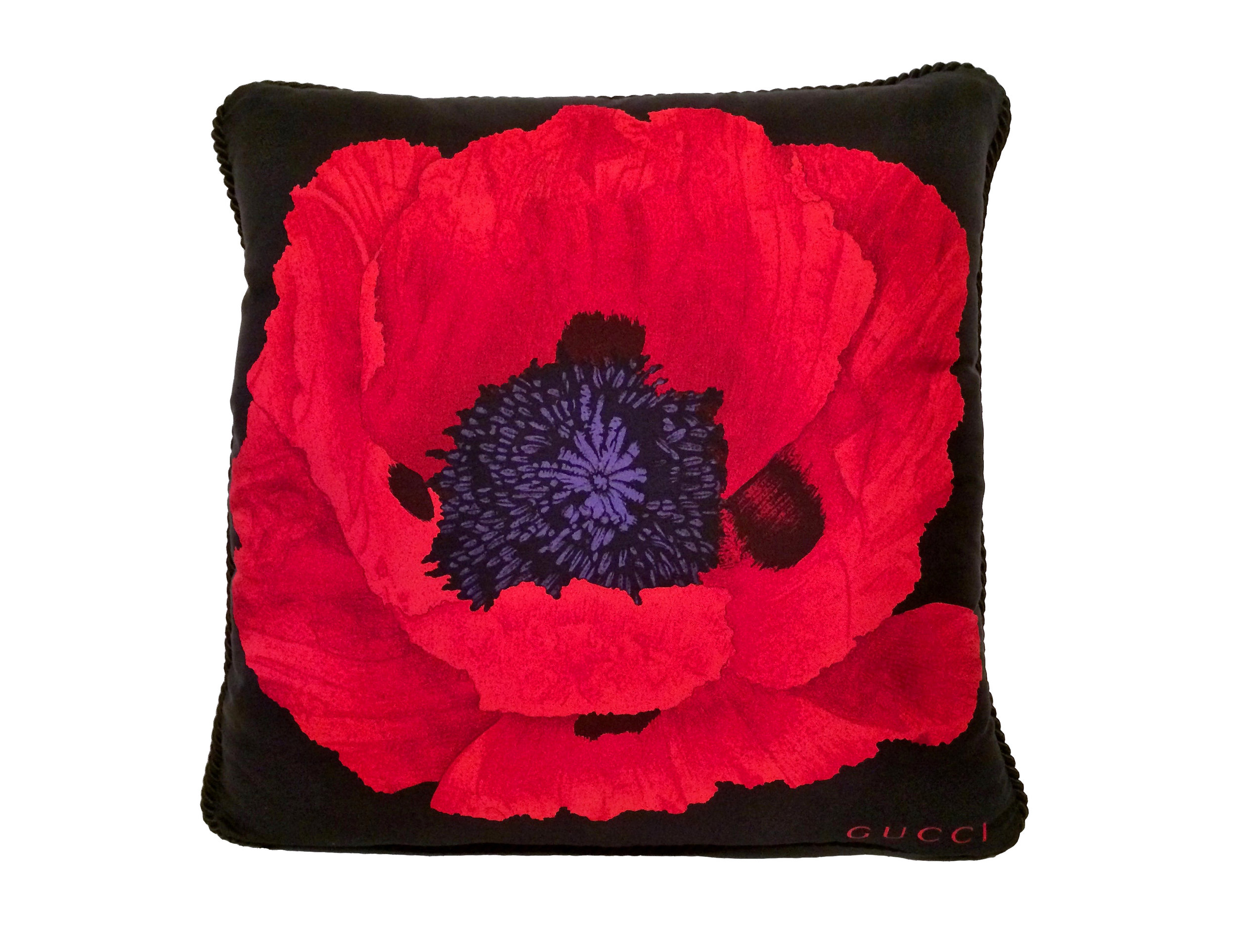 gucci red poppy pillow red black benton art design