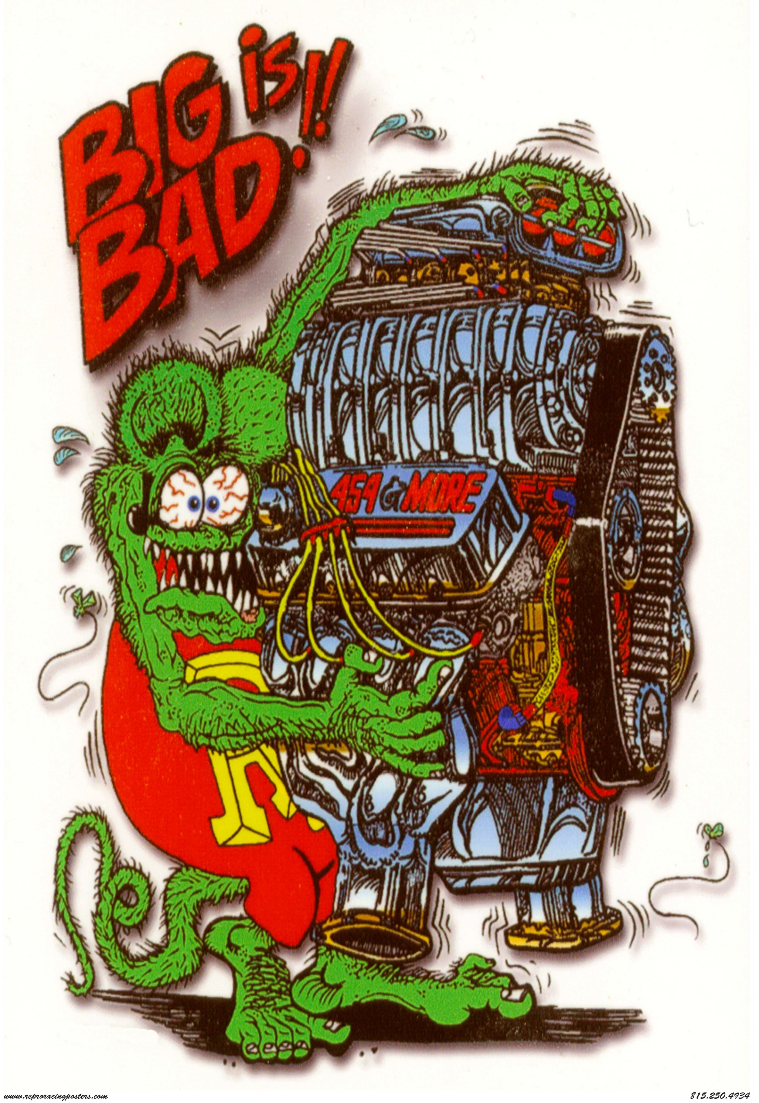rat fink big is bad vintage reproduction racing posters