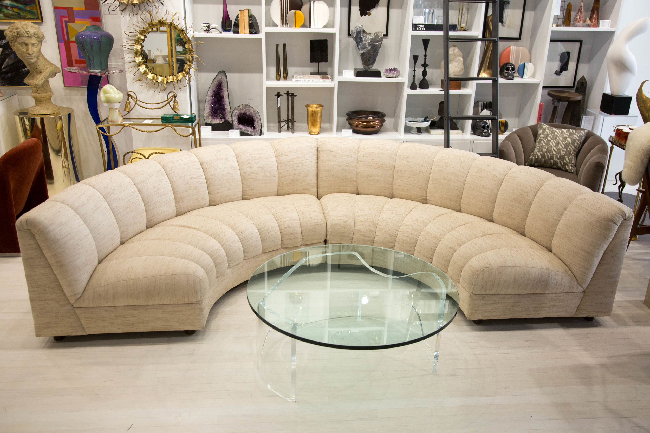 semi circle channel back sofa or pair