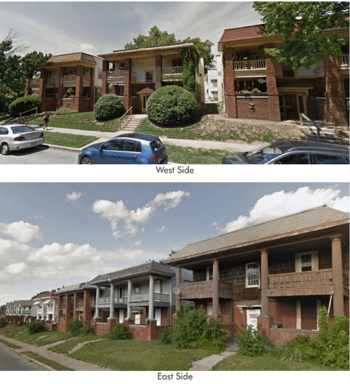 Image: Google. Neighborhoods on the east and west sides of Kansas City's urban area contain many similar characteristics and housing types. These clusters of 4-plexes are virtually identical, though the east-side buildings now sit vacant in a largely disinvested neighborhood.