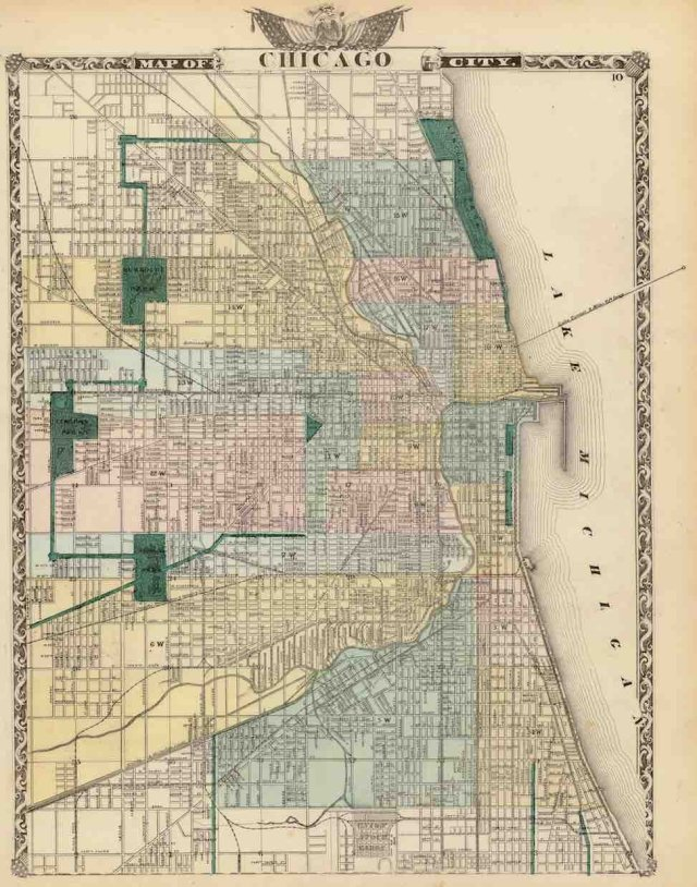 The rapid but decentralized development of Chicago is revealed in this 1876 map: expansion occurred not in finished-state subdivisions, but by building onto an existing grid, opening up land to many small- and larger-scale developers. Image via Wikimedia Commons.