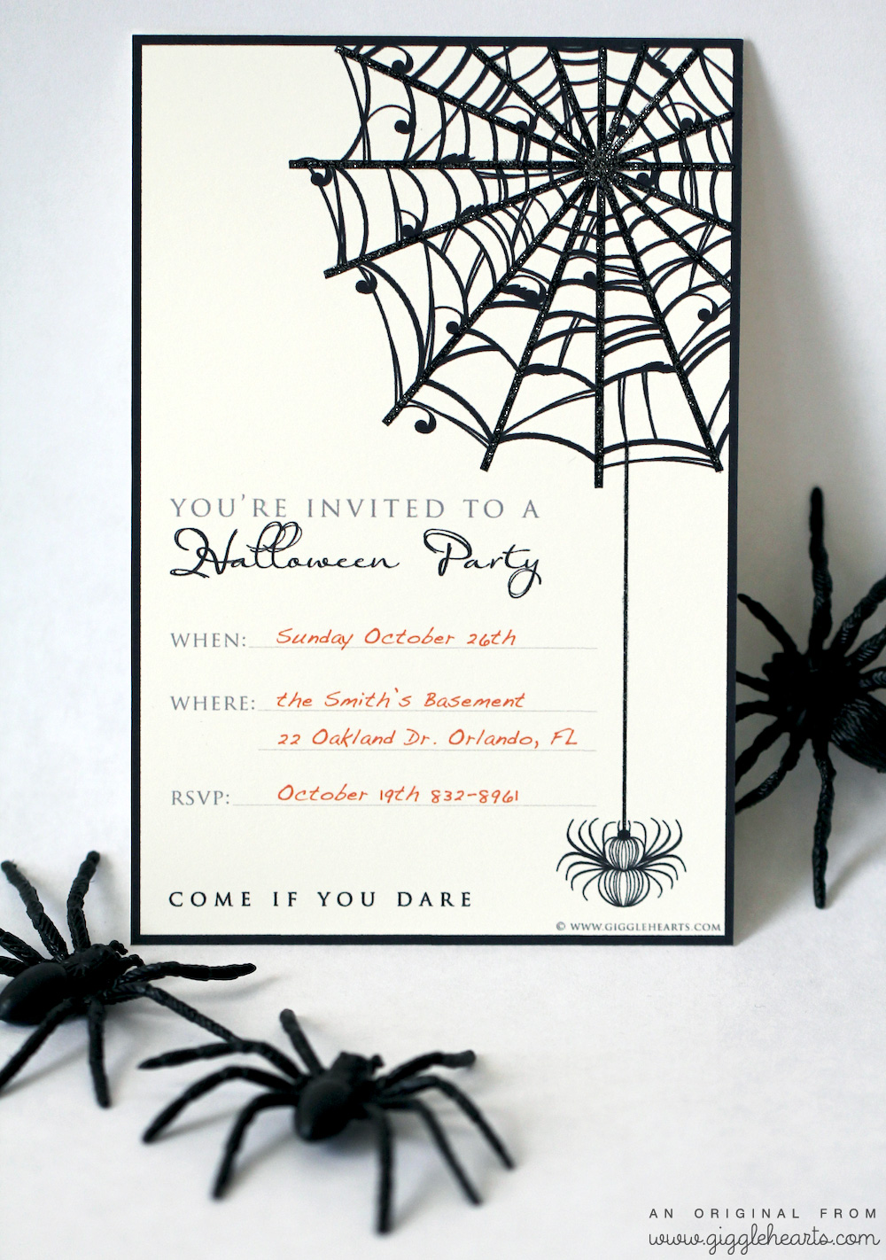 Here we show you the best ideas of halloween party invitations, cards, designs of creative and original templates. Free Halloween Party Invitation Printable With Glitter For A Fun Added Touch