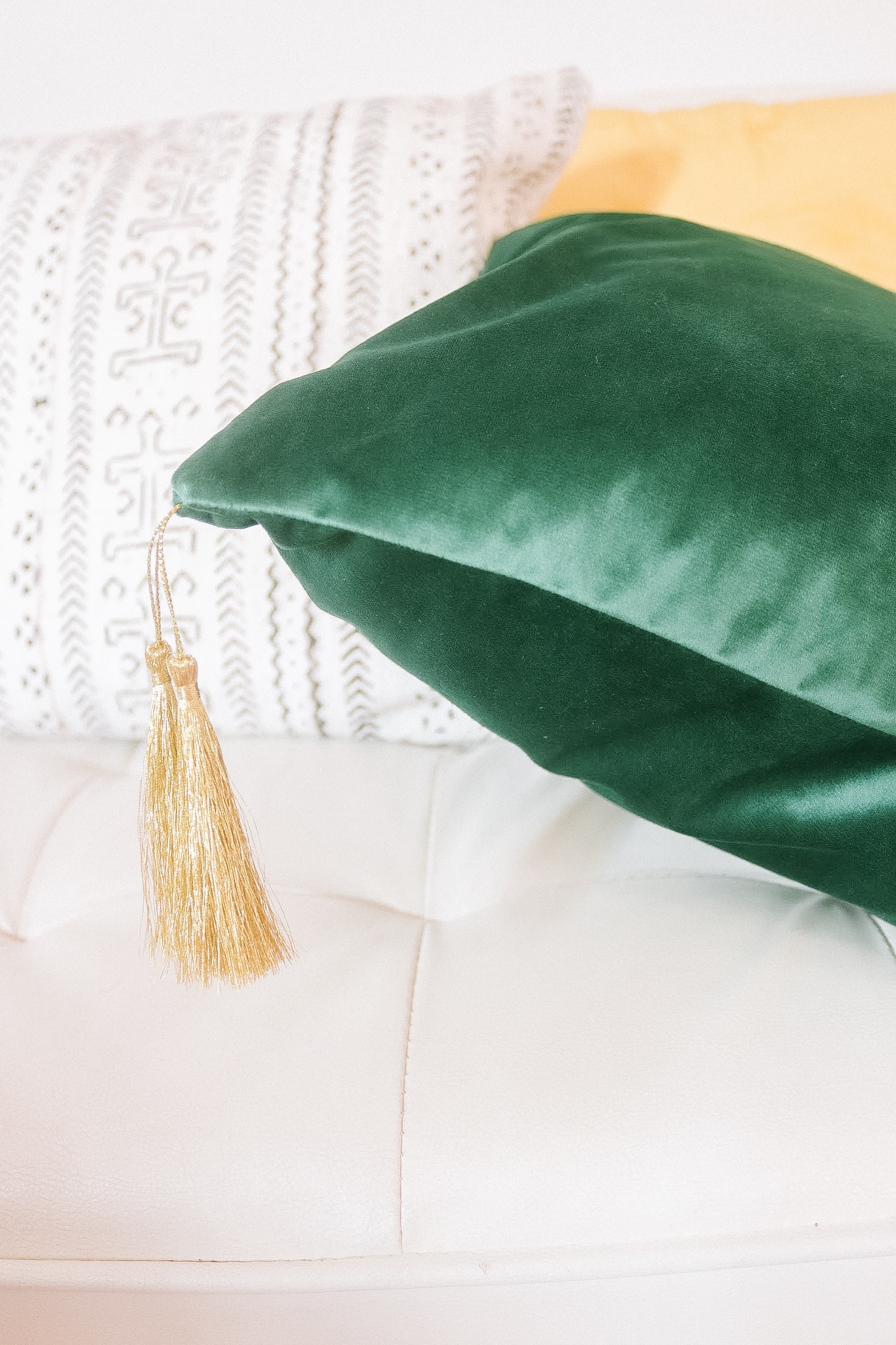 karama holistic home decor lifestyle mind body home shop all tassel velvet pillow emerald