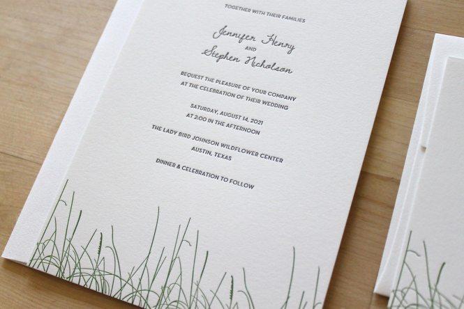 Grass Letterpress Wedding Invitations