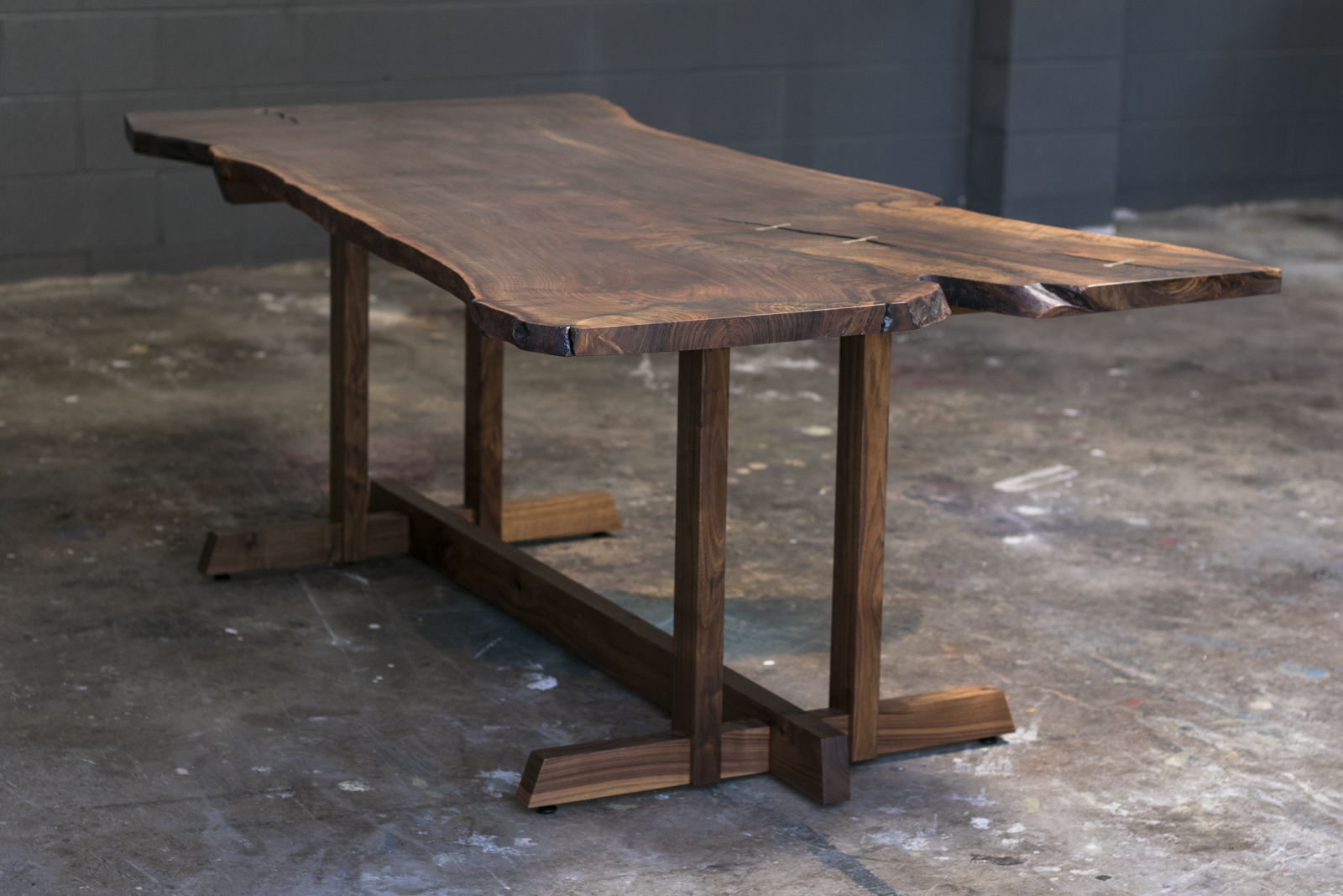 lake tahoe and sf bay area live edge walnut slab dining table trestle style solid wood base mez works furniture