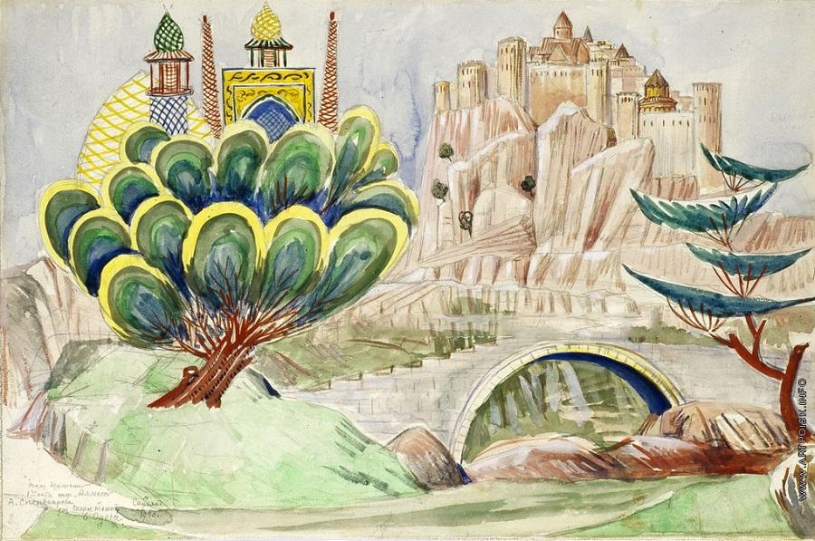Эскиз декорации к опере «Алмаст», созданный Мартиросом Сарьяном (1930) | artpoisk.info