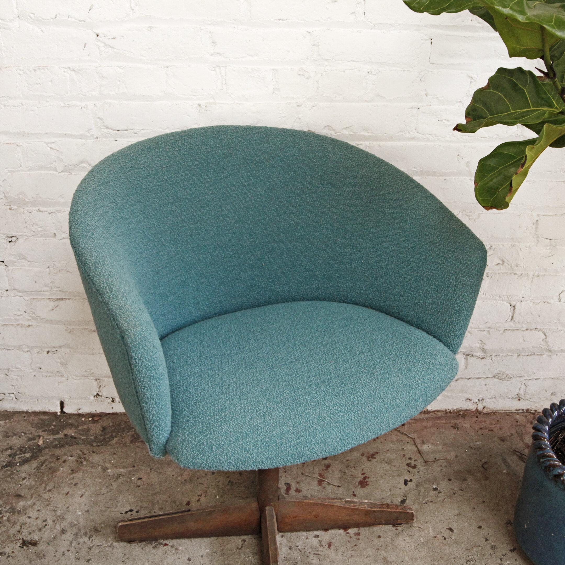 Teal Boucle Office Swivel Chair O T H E R T I M E S V I N T A G E