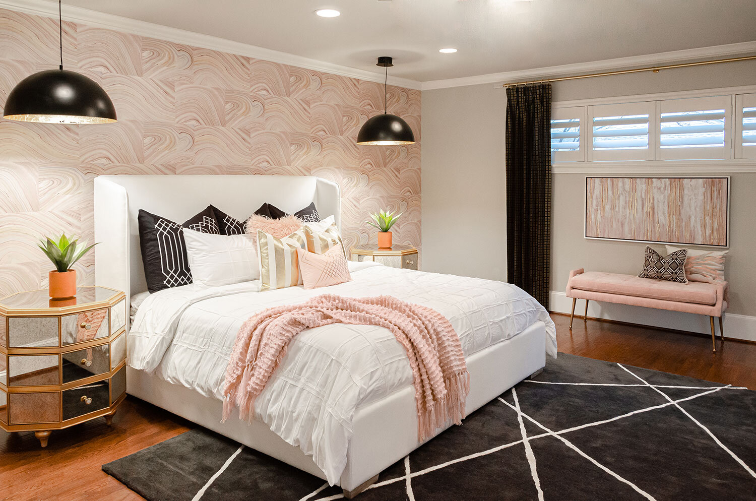 pink and black bedroom decor with
