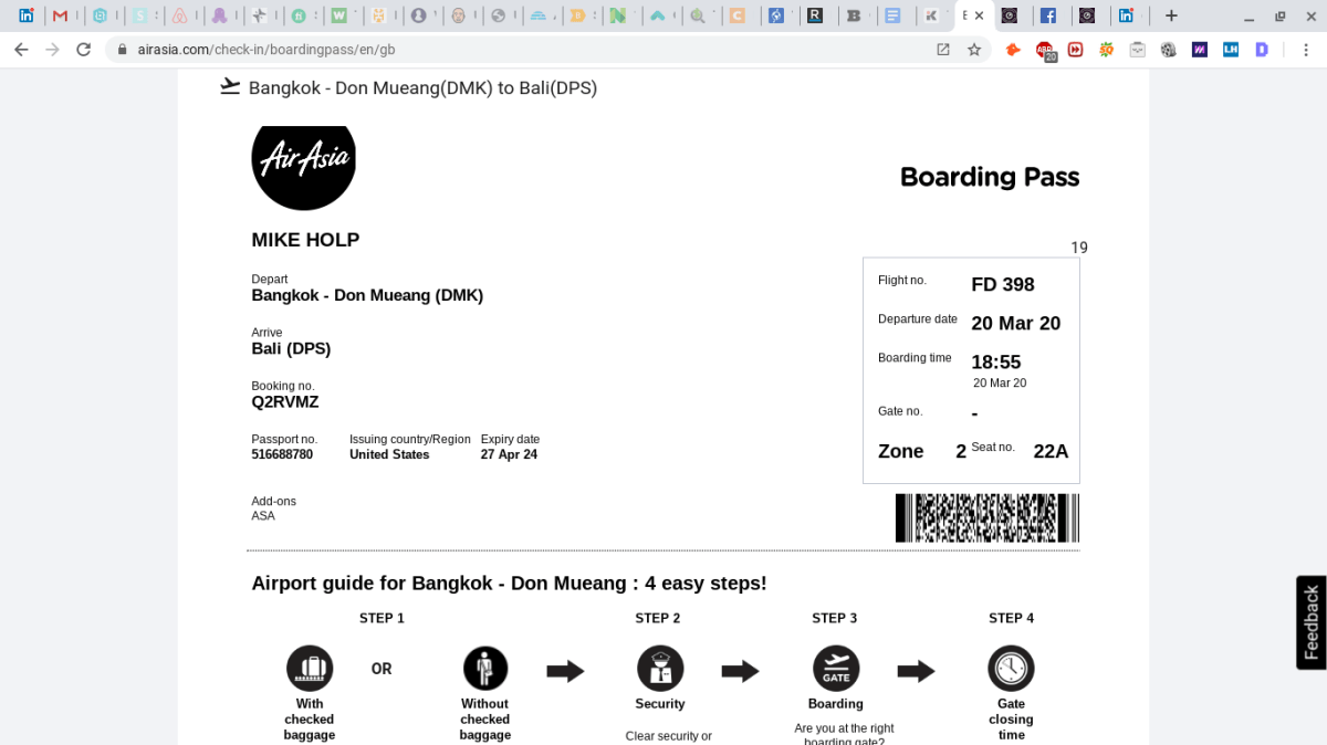 My airline ticket from Don Mueang International Airport to Denpasar Airport in Bali, Indonesia