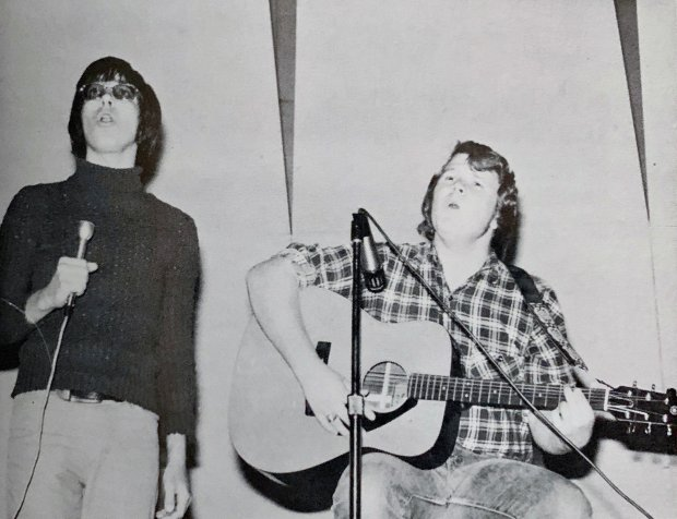 """The """"Singing Steves"""". That's me at left, with my friend Steve Tikal and his guitar at right."""