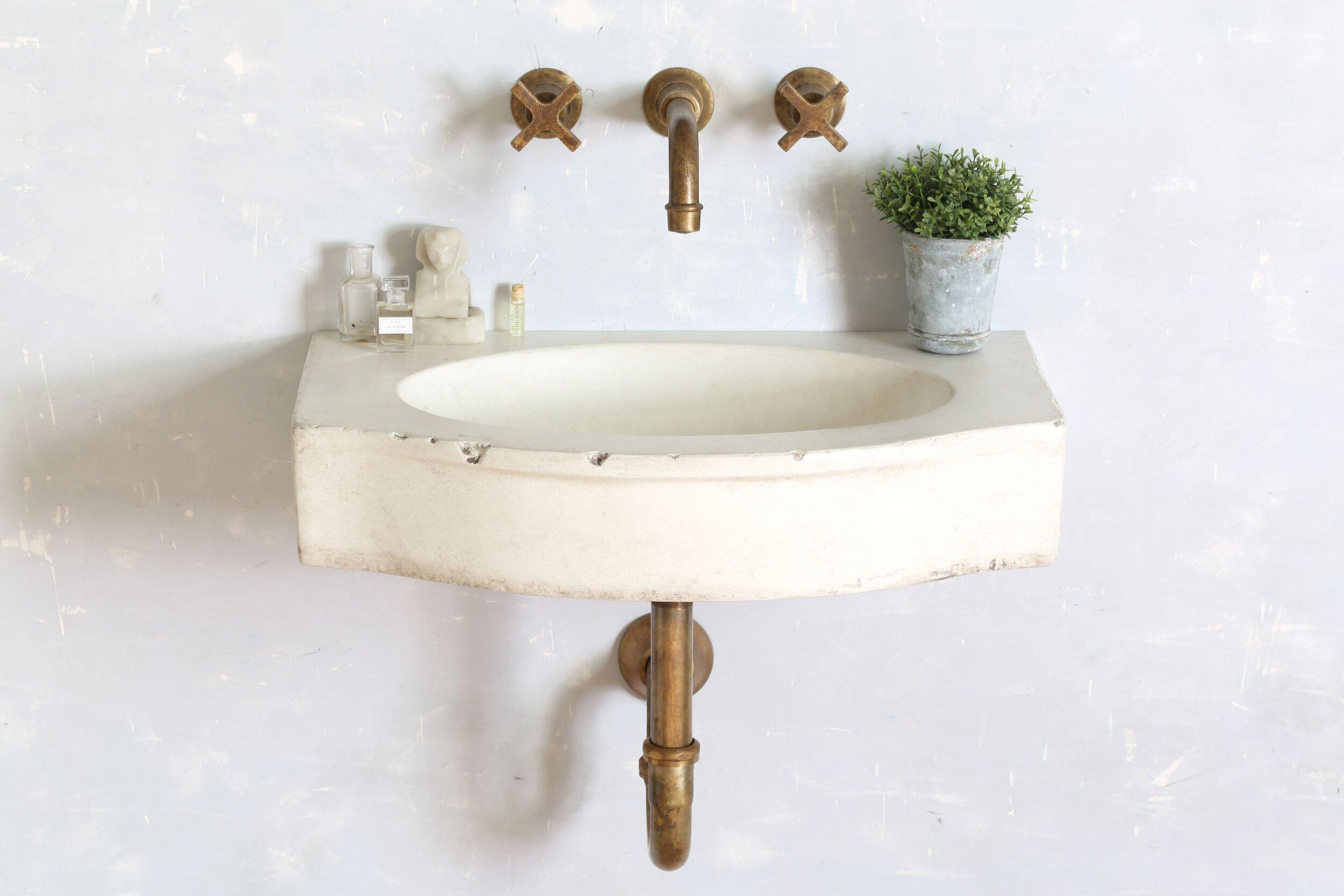 22 mallorca sink bathhouse cross handle wall mount faucet drain bundle atmosphyre
