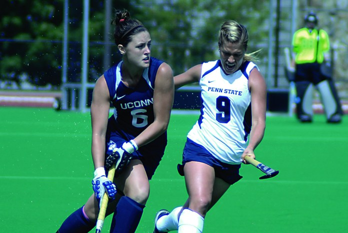 UConn midfielder Roisin Upton (left) during the Huskies' game against Penn State at the Sherman Family Sports Complex on Sept. 6, 2014. (Amar Batra/The Daily Campus)
