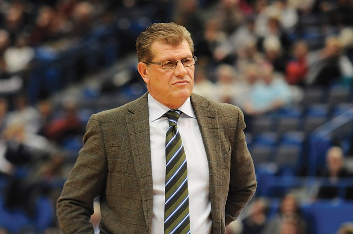 UConn women's basketball head coach Geno Auriemma is pictured during the Huskies' game against East Carolina last season at XL Center in Hartford, Connecticut on Jan. 28, 2015. The team announced its 2015-16 schedule on Wednesday.(File Photo/The Daily Campus)