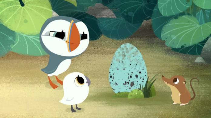 """""""Puffin Rock,"""" narrated by Chris O'Dowd,follows the adventures of a family of puffins who live on an Irish island. It originally debuted on Netflix on Jan. 12, 2015. (Courtesy/Netflix)"""