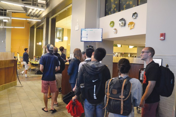 Students stand in line at McMahon Dining Hall on Thursday, Sept. 10, 2015. (Amar Batra/The Daily Campus)