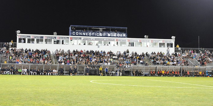 In this photo, UConn's Joseph J. Morrone Stadium is pictured. (Amar Batra/The Daily Campus)