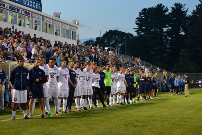 Men's Soccer: Huskies honor Morrone, earn emotional home win