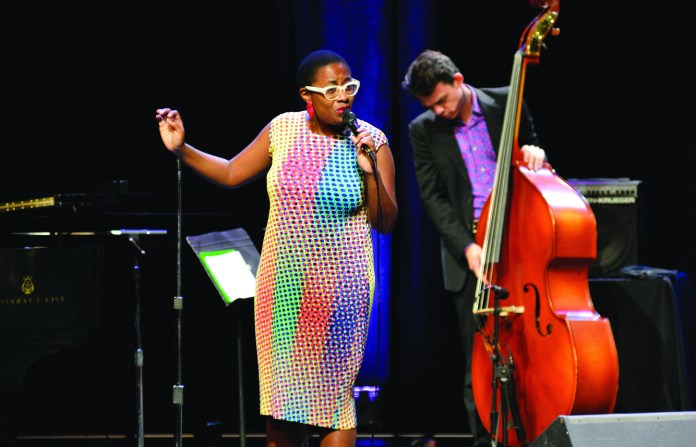 Jazz vocalist Cecile Salvant performs at the Jorgensen Center for the Performing arts on the UConn campus in Storrs, Connecticut on Thursday, Oct. 1, 2015. (Jason Jiang/The Daily Campus)