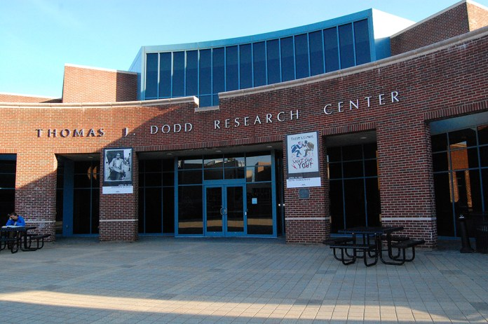 In this file photo, the Thomas J. Dodd Research Center is pictured on the UConn campus in Storrs, Connecticut. (File Photo/The Daily Campus)