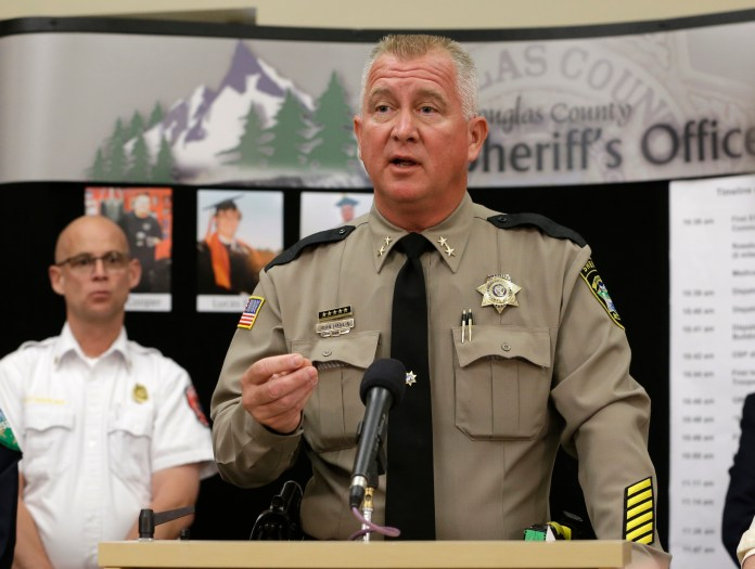 In this Oct. 3, 2015, file photo, Douglas County Sheriff John Hanlin speaks during a news conference, in Roseburg, Oregon.(Rich Pedroncelli, file/AP)