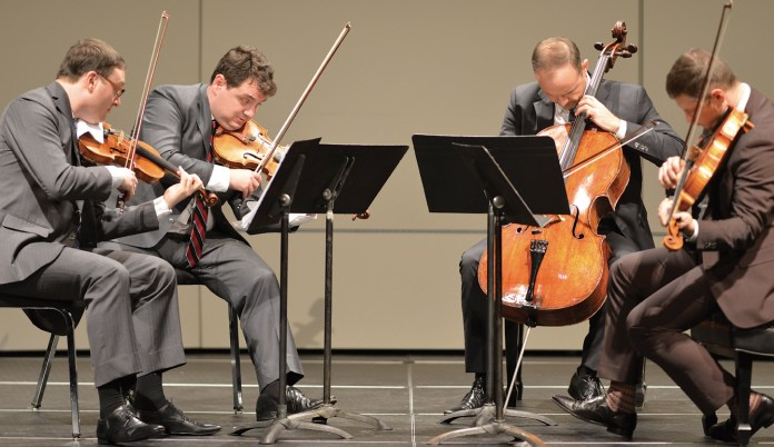 The Jerusalem Quartet played with energy and expertise for a Sunday afternoon crowd at the Jorgensen Center for the Performing Arts. (Jason Jiang/The Daily Campus)
