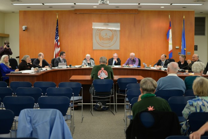 In this photo, the Mansfield Town Council meeting is pictured at the Mansfield Town Hall in Mansfield, Connecticut on Monday, Oct. 12, 2015. (Ashley Maher/The Daily Campus)