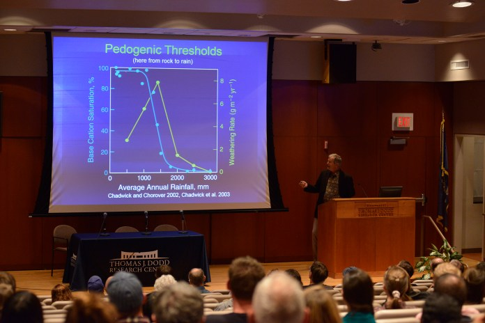 Standford University professor Peter Vitousek speaks during his lecture at the Thomas J. Dodd Research Center in Storrs, Connecticut on Friday, Oct. 16, 2015. (Jason Jiang/The Daily Campus)