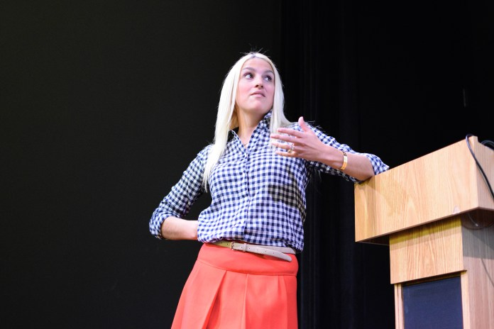 """Schoolteacher and survivor Kaitlin Roig-DeBellis is seen during her reading of her new book, """"Choosing Hope"""" at UConn on Wednesday, Oct. 21, 2015. (Grant Zitomer/The Daily Campus)"""