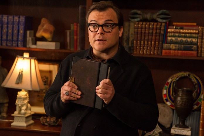 """In this photo provided by Columbia Pictures, Jack Black who stars as R.L. Stine, Slappy, and Invisible Boy, appears in a scene in Columbia Pictures' """"Goosebumps"""