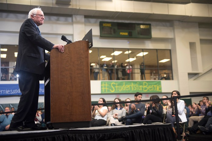 Democratic presidential candidate Sen. Bernie Sanders speaks at a town hall meeting with college students at George Mason University in Fairfax, Va., on Wednesday, Oct. 28, 2015. (AP)