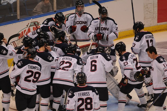 UConn will help Notre Dame open Hockey East play this Saturday, 3:05 p.m. at the XL Center before both teams make the trip to Long Island Sunday to finish the weekend series at the Barclays Center in Brooklyn. (Amar Batra/The Daily Campus)