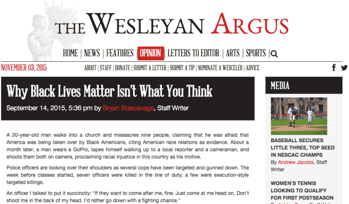 A screenshot of the  editorial piece  that unleashed a maelstrom of backlash from the student body and in turn slashed funding for   The Wesleyan Argus . (Screenshot)