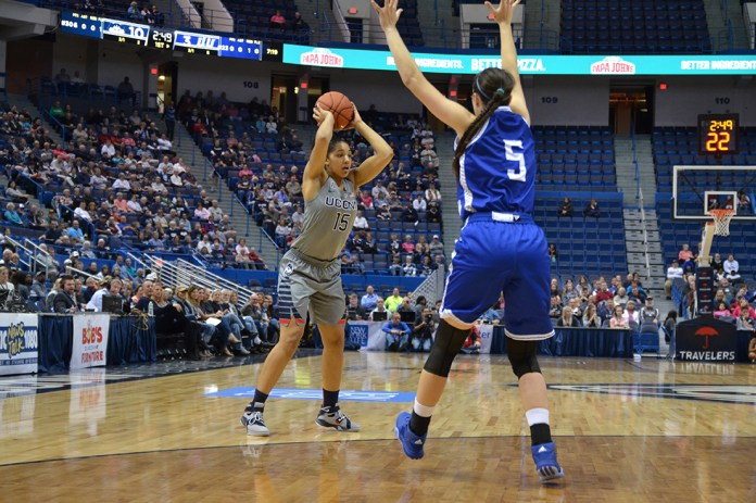 UConn guard Gabby Williams eyes a pass during UConn's 95-39 victory over Lubbock Christian on November 2, 2015. Williams finished with 16 points and 12 rebounds. (Amar Batra/The Daily Campus).