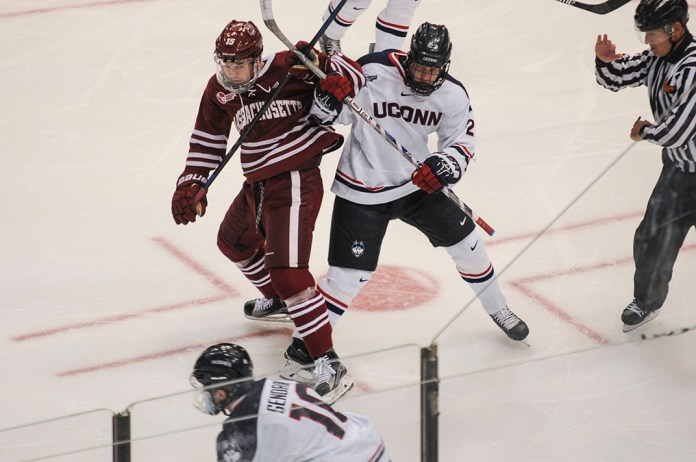 The UConn men's ice hockey team went 0-for-6 on the power play against UMass on Friday Nov. 6, 2015 at the XL Center, consigning the team to their fifth defeat of the season. (Bailey Wright/The Daily Campus)