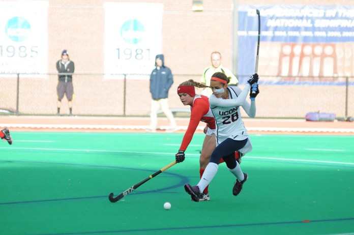 UConn forward Charlotte Veitner takes a shot during the Huskies' 5-0 victory over Boston University on Oct. 18, 2015. UConn is looking to win their third straight national championship. (Jason Jiang/The Daily Campus).