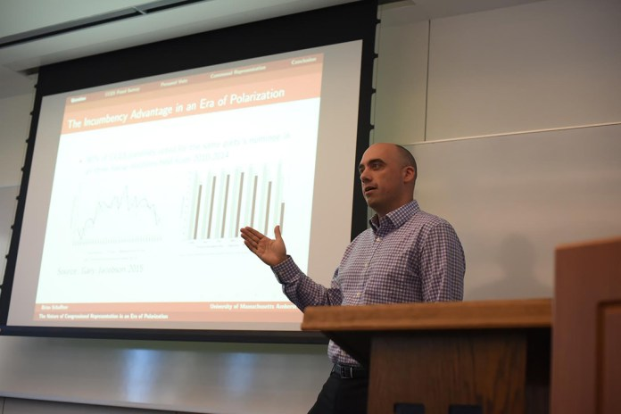 In an era of such polarized politics, is it time to discuss a change to congressional representation? Dr. Brian Schaffner broached that subject during a lecture on Monday Nov. 9, 2015. (Zhelun Lang/The Daily Campus).