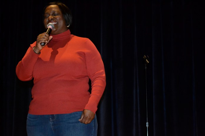 """Comedian Erin Jackson is seen during her standup comedy performance in UConn's Student Union Theater in Storrs, Connecticut on Thursday, Nov. 12, 2015.Jackson was a semifinalist on the 2014 reboot of the television show """"Last Comic Standing."""" (Olivia Stenger/The Daily Campus)"""