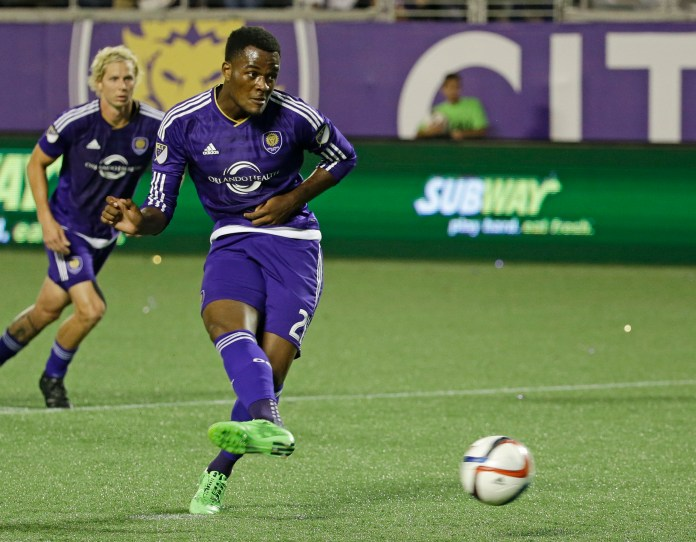 In this May 2, 2015, file photo, Orlando City 's Cyle Larin during the second half of an international friendly soccer game, in Orlando, Fla. Orlando City forward Cyle Larin has been voted Major League Soccer's Rookie of the Year, Tuesday, Nov. 10, 2015. (John Raou, File/AP)